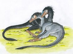 Moment of Comfort Colored by Eurwentala on DeviantArt Alien Creatures, Prehistoric Creatures, Mythical Creatures, The Lost World, Jurassic Park World, Dinosaur Art, Extinct Animals, Monster Hunter, Fossils