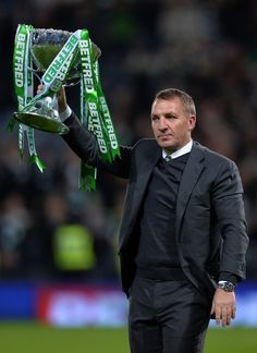 Celtic manager Brendan Rodgers lifts the trophy as Celtic win the Betfred Cup Final between Aberdeen FC and Celtic FC at Hampden Park on November 27, 2016 in Glasgow, Scotland.