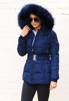 Harper Luxe Quilted Longline Hooded Puffer Coat with Faux Fur Trim womans puffer coat with fur hood - Woman Coats Puffer Coat With Fur, Women's Puffer Coats, Trench Coats, Trenchcoat Style, Coats For Women, Clothes For Women, Ladies Coats, Navy Coat
