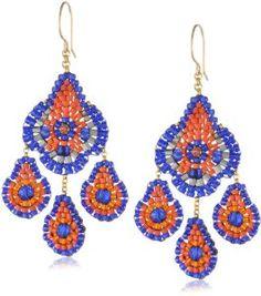 miguel ases jewelry | Amazon.com: Miguel Ases Blue Hydo-Quartz and Orange Miyuki Bead Small ...