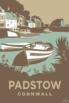 Whitney -- I like this style of illustration. Padstow in Cornwall, Retro inspired travel poster by Steve Read. Railway Posters, Posters Uk, Tourism Poster, Into The West, Travel Illustration, Vintage Travel Posters, Illustrations, Cities, Screen Printing