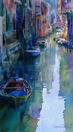Stan Miller, Watercolour, Venice Canal on ArtStack #stan-miller #art
