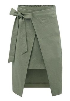 Army Green Plain Bow Elastic Waist Streetwear Cotton Skirt