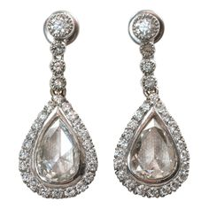 Antique Rose Cut Diamond Earrings   From a unique collection of vintage drop earrings at https://www.1stdibs.com/jewelry/earrings/drop-earrings/  $10,500