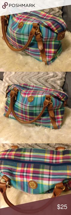 Tommy Hilfiger Madras Plaid Bag Super cute shoulder purse. Faux leather detail. Good used condition. Little wear as shown on bottom corners. Some pen marks inside. Straps in great condition. Tommy Hilfiger Bags Satchels