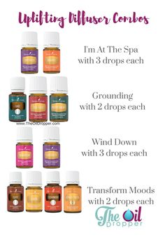 Save these when you need a mood lifter. Diffuse or roll on these wonderful combos! More great recipes and ideas from www.theoildropper.com