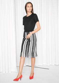 & Other Stories | Striped Fringe Knit Skirt