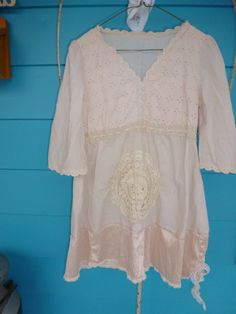 Earthy Upcycled Revamped  Shabby Chic  Bohemian tunic/shirt cotton Dress SM-L on Etsy, $32.95