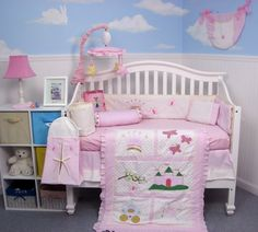 $189.95-$189.95 Baby This Set Fits all Toddler Beds and Cribs (Single or Convertible) (USA, UK, AU, Etc..) The Set includes following 10 pieces: * Hand Embroidery Crib Quilt * Hand Embroidery Crib Bumper * Fitted Sheet * Crib Skirt (Dust Ruffle) * 2 pieces of Window Valances * Diaper Stacker * Toy Bag * Baby Pillow * Baby bib  We also included the 3 pcs Diaper Bag with Changing Pad & Bottle Case.
