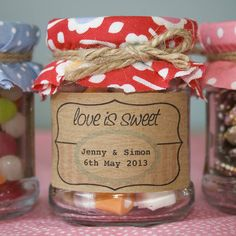 If it's too much work to make jam or chutney for your wedding day favours, give away gorgeous little jars of sweets instead! $14.47