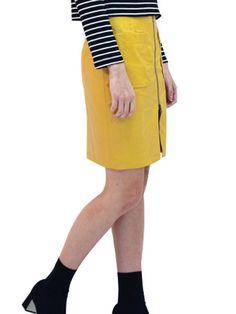 Mustard Leather Skirt