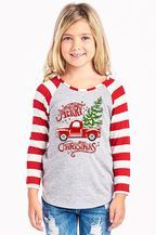 This top is sure to spread holiday cheer! This raglan style top features a heather gray body and red and white sleeves. This shirt is a long sleeve fitted shirt and is very soft!