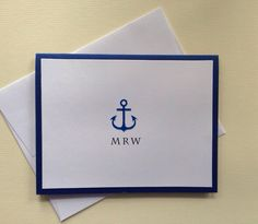 Anchor Stationery Personalized Anchor Notecards Monogrammed Anchor Notecards Blue Anchor Nautical Stationery by SincerelyYours123 on Etsy https://www.etsy.com/listing/197285866/anchor-stationery-personalized-anchor
