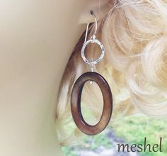 CUSTOM ORDER for Melissa - gorgeous Mother of Pearl Hand Forged Sterling Silver Artisan Earrings with Gray Ovals