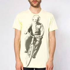 Albert Einstein on a Bike Shirt  Bicycle  Mens door TuristaClothing, $20.00