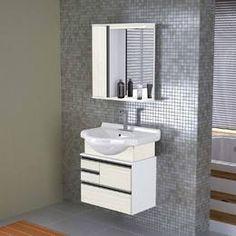Gabinete para Banheiro com Pia e Espelho Luci Palissandro/Ártico - Casabras