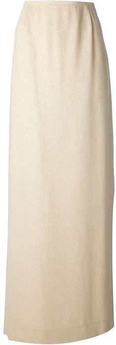 €239, Jupe longue beige Jean Louis Scherrer. De farfetch.com. Cliquez ici pour plus d'informations: https://lookastic.com/women/shop_items/61964/redirect