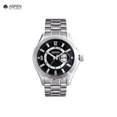 Aspen AM0005 Wrist Watch for Men in Silver Metal Strap