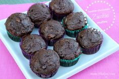 double chocolate zucchini muffins - mom vs the boys