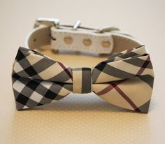 Plaid Burly wood dog bow tie with high quality leather collar, Chic Dog Bow tie