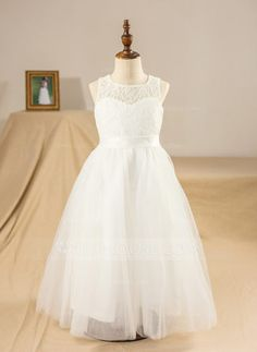 A-Line/Princess Scoop Neck Ankle-length Sash Bow(s) Tulle Lace Sleeveless Flower Girl Dress Flower Girl Dress