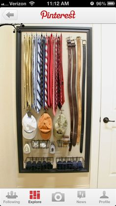 Put a giant frame on the wall and hang hooks or baskets inside it for jewelry, scarves, belts and whatever else