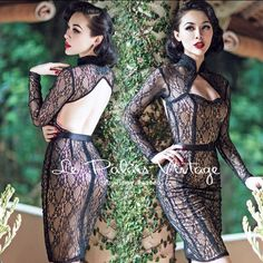FREE SHIPPING Le Palais Vintage limited edition Retro Black Lace Sexy backless dress tight low cut Perspective dress chi-pao