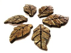 Leaf Coconut chocolate brown eco friendly Button by EcoCraftSupply, $4.75
