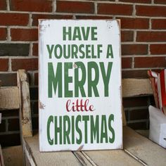 Have Yourself a Merry Little Christmas Heavily Distressed Typography Word Art Sign in Vintage Style. $75.00, via Etsy.