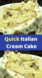 Quick Italian Cream Cake 1 package white cake mix (I used Duncan Hines Moist Deluxe) 3 large eggs 1 cups buttermilk cup vegetable oil 1 can flaked coconut cup chopped pecans, toasted 3 T Rum (optional) Cream Cheese F Cake Mix Desserts, Cake Mix Recipes, Easy Desserts, Baking Recipes, Delicious Desserts, Dessert Recipes, Easy Italian Desserts, Italian Cream Cake Recipe Easy, Italian Cream Cheese Cake