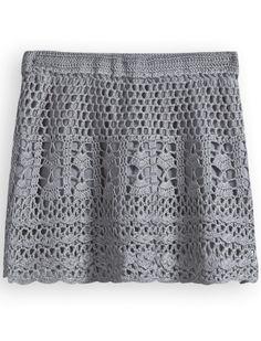 Falda jersey punto hueco-Gris EUR15.56