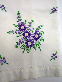 White Tea Towel Embroidered Purple Flowers by BonniesVintageAttic