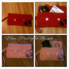 Crochet regular and mini sized clutch purse - perfect for a mother daughter gift!