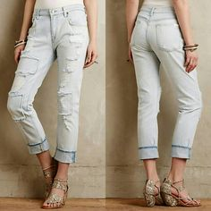 7 For All Mankind Distressed Boyfriend Jeans Light wash patchwork 7 for all Mankind jeans! Size 25 but runs big, could fit a 26 or 27 probably. Worn only a few times, really good condition, great summer jeans! 7 for all Mankind Jeans Boyfriend