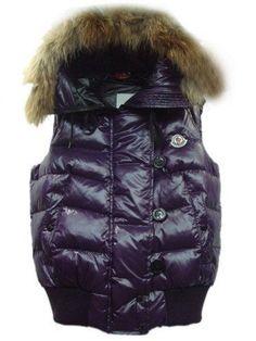 Moncler Womens Vest Rabbit Hat Buttons with Zip Purple