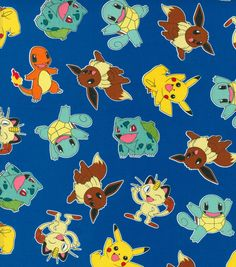 Pokemon Character Blue Cotton Fabric
