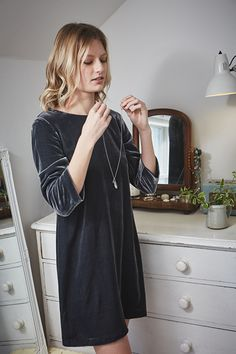 Deluxe velvet dress, in Seasalt colours. In a quality velvet blend fabric, with shift fit, scoop neck, three quarter sleeves and knee length.