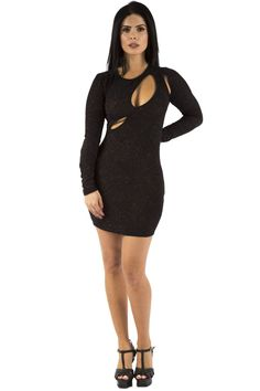 Black Longsleeve Shiny Dress with Cut Out Detailing