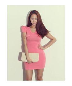 Slim-fit color short dress » Fashion drop