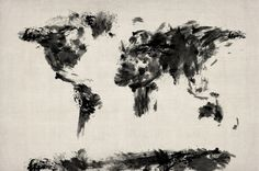 Abstract Black and White World Map by Michael Tompsett