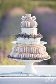 Beautiful lavender wedding macarons.