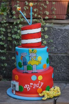 colorful dr seuss themed birthday cake