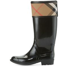 Burberry Crosshill Check-Trim Rain Boot ($390) ❤ liked on Polyvore featuring shoes, boots, knee-high boots, rain boots, black low heel boots, slip on rubber boots, rubber boots and black boots