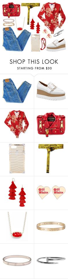 """We Can't Build our Dreams on Suspicious Minds"" by that-one-basic-girl ❤ liked on Polyvore featuring Levi's, Aéropostale, Moschino, Louis Vuitton, Off-White, BaubleBar, Kendra Scott and Cartier"