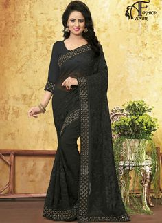 Party Wear Black Fancy Georgette Saree