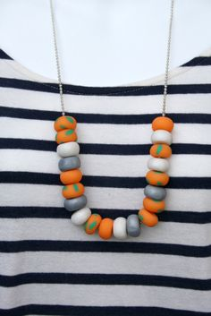 20 Bead Orange, Green Speckle, White & Grey Polymer Clay Bead Necklace