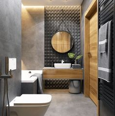 Modern Bathroom Design Ideas - Pictures of Contemporary Bathroom The most interesting about having a modern bathroom is on its simplicity without losing its function. Here, we want to share with you 10 modern bathroom de Wood Bathroom, Grey Bathrooms, Bathroom Colors, Bathroom Flooring, Bathroom Furniture, Small Bathroom, Bathroom Ideas, Master Bathroom, Mirror Bathroom