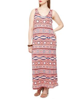 Plus Size Sleeveless Bodycon Maxi Dress with Ikat Print