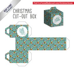 Merry Christmas Cut-Out Box - with ready to print templates! Check out all the boxes & download at @homelifeabroad.com #christmasgifts #christmasboxes #christmastemplates #christmasprintables #xmas #DIY #boxes #christmasDIY #christmascrafts #reindeer