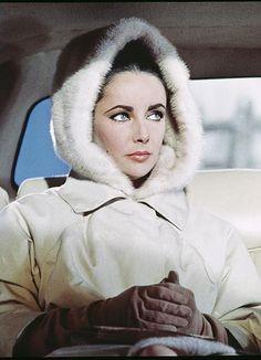 Liz Taylor, making a fur hood happen.